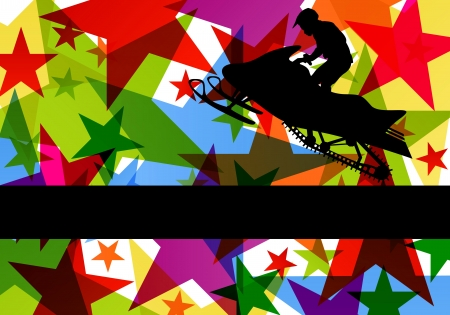 Snow mobile motorbike rider in colorful abstract star background vector illustration Stock Vector - 18581198