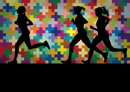 runner girl: Marathon runners active silhouettes in colorful landscape background illustration