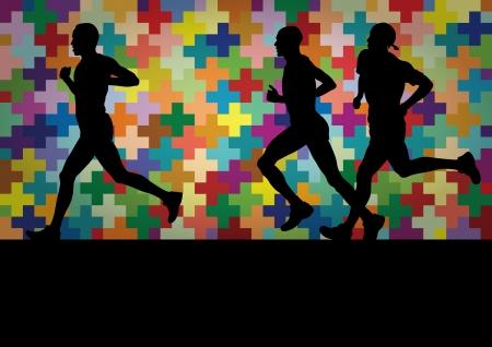 body paint: Los corredores de maratón siluetas activas en la ilustración colorido paisaje de fondo