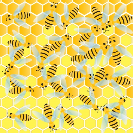 Bees and honeycomb wax cell vector background illustration Stock Vector - 18581120