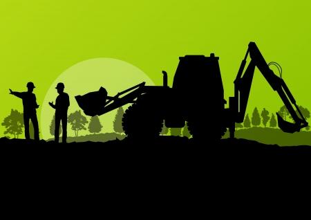 Excavadora y trabajadores a excavar en el sitio de la construcción con el fondo elevado vector cubo