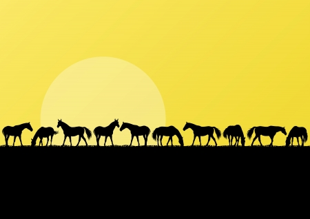 Farm horses silhouettes landscape illustration background vector Vector