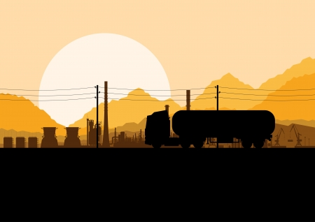 cistern: Industrial oil refinery factory and gasoline truck cistern tank landscape background illustration vector