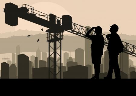 ingenieurs: Ingenieur en bouwplaats manager kijken wolkenkrabber bouwproces in industriële kraan illustratie achtergrond vector Stock Illustratie