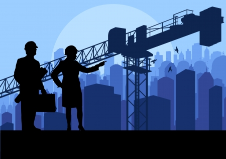 Engineer and construction site manager watching skyscraper building process in industrial crane illustration background vector Vector