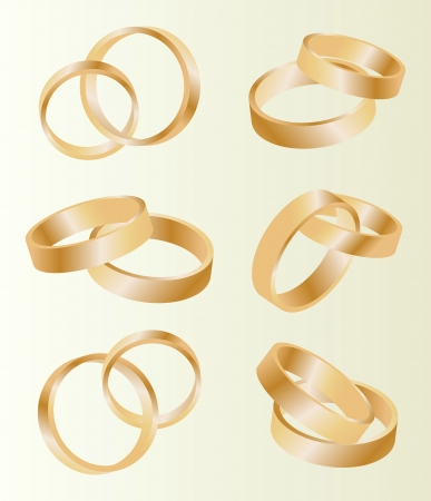 wedding rings: Gold wedding rings vector background set concept