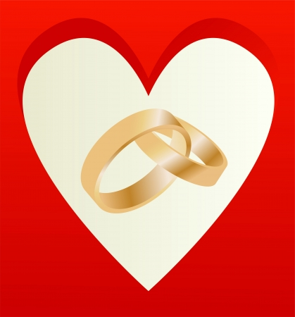 Gold wedding rings with heart shaped card vector background Vector