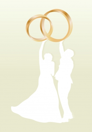Wedding card with man and women and gold wedding rings in vector background illustration Vector