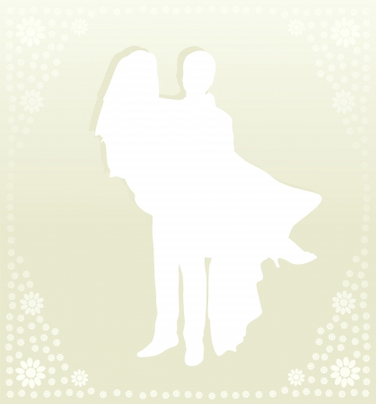bride groom silhouette: Wedding card with man and women in vector background illustration