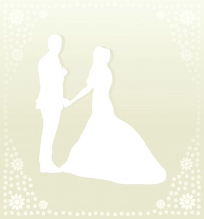 victorian anniversary: Wedding card with man and women in vector background illustration