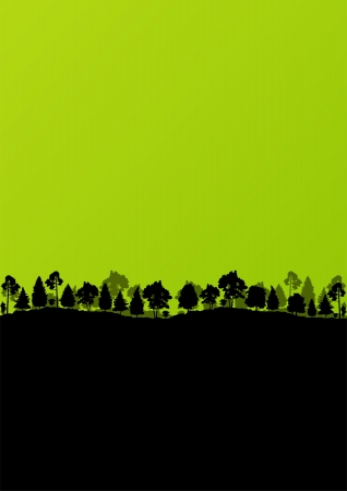 Wild mountain forest nature landscape scene background illustration vector Stock Vector - 18581193