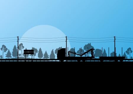 maquinaria pesada: Forestal madereros camión en la carretera en vector del paisaje forestal de ilustración de fondo