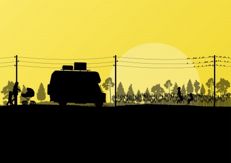 family van: Tourists and camper vehicle in countryside forest field landscape background illustration vector