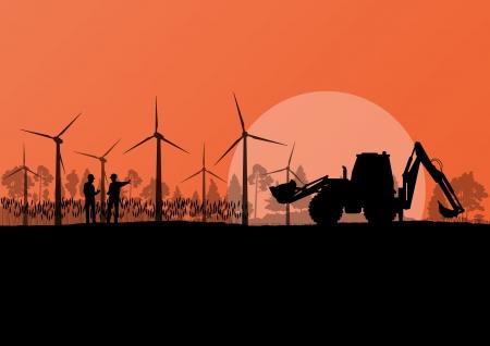 generadores: Los generadores e�licos de electricidad con ingenieros de la construcci�n y de las palas en el campo rural paisaje vector ilustraci�n de fondo ecolog�a