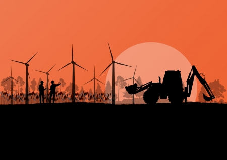 Wind electricity generators with construction engineers and excavator in countryside field landscape ecology illustration background vector Vector