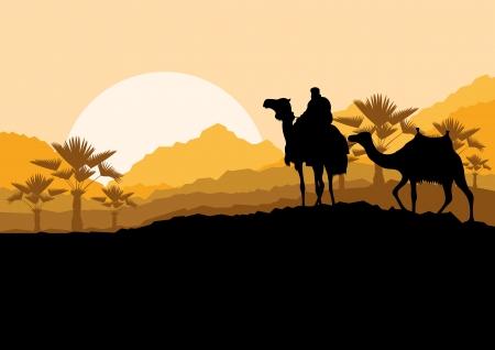 desierto del sahara: Caravana de camellos en el desierto de montaña salvaje naturaleza ilustración vectorial paisaje de fondo