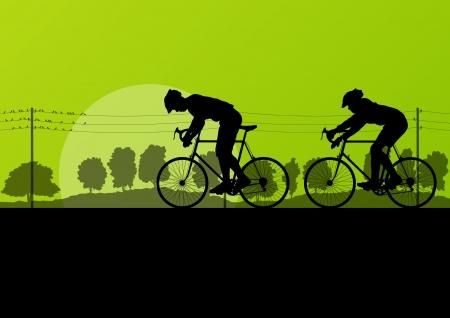 ciclista: Deporte ciclistas de carretera y bicicletas siluetas detalladas en campo bosque salvaje naturaleza ilustración vectorial paisaje de fondo