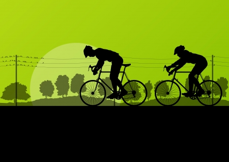 Sport road bike riders and bicycles detailed silhouettes in country side wild forest nature landscape background illustration vector Vector