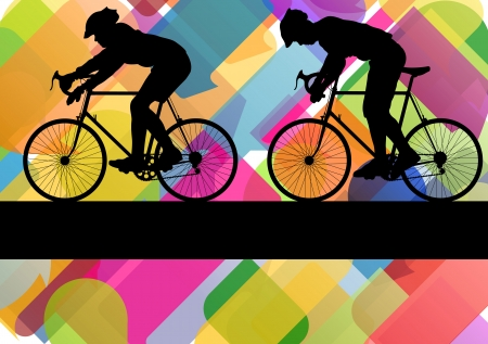 Sport road bike riders bicycle silhouettes in colorful abstract background vector illustration Stock Vector - 18581220
