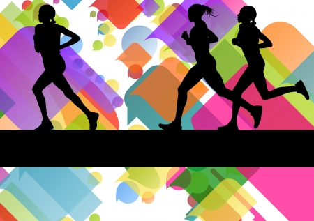 road runner: Marathon sport runners in colorful abstract background vector illustration Illustration