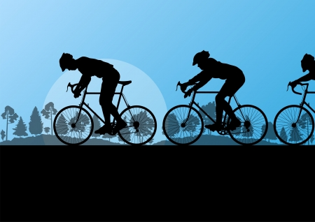 country side: Sport road bike riders and bicycles detailed silhouettes in country side wild forest nature landscape background illustration vector Illustration