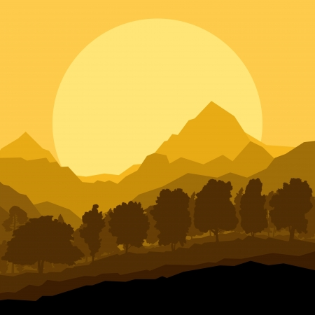 Wild mountain forest nature landscape scene background illustration vector Stock Vector - 18581059