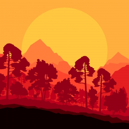 logger: Wild mountain forest nature landscape scene background illustration vector