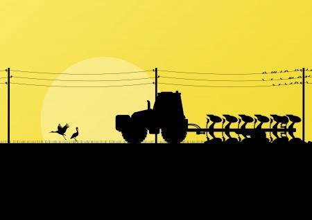 labranza: Agricultura tractor arando la tierra cultivada en el pa�s de campos vector paisaje ilustraci�n de fondo