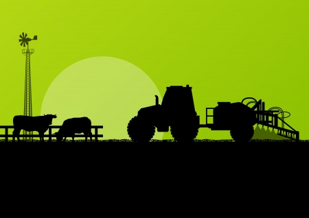 Agriculture tractor and beef cattle in cultivated country fields landscape background illustration vector Vector
