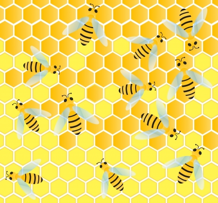 Bees and honeycomb wax cell vector background illustration Vector