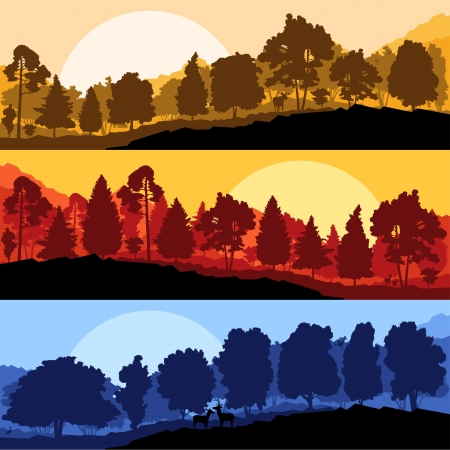 logger: Wild mountain forest nature landscape scene collection background illustration vector
