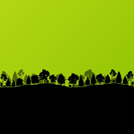cypress tree: Forest trees silhouettes landscape ecology illustration background vector