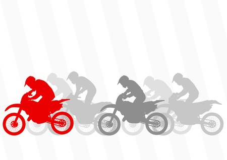 Sport motorbike riders and motorcycles silhouettes illustration collection background vector Vector