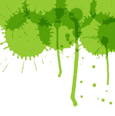 Green ink splashes vector background ecology concept Vector