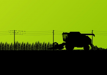 Agricultural combine harvester seasonal farming landscape scene illustration background vector Vector