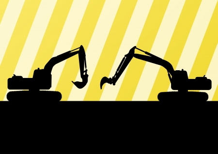 Excavator detailed silhouettes illustration in construction site background vector Vector
