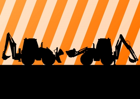 Excavator detailed tractor silhouettes illustration construction site background vector Vector