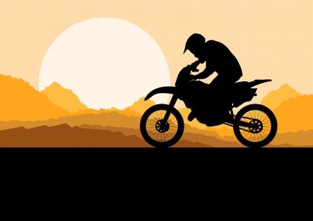motorbike jumping: Motorbike rider motorcycle silhouette in wild desert mountain landscape background illustration vector