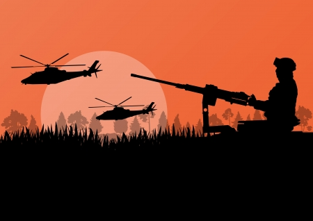 Army soldier with helicopters, guns and transportation in wild mountain forest nature landscape background illustration vector Vector