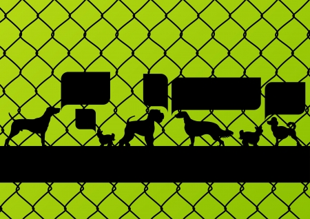 imprisoned: Imprisoned dogs behind wire mesh fence with speech bubbles illustration background vector Illustration