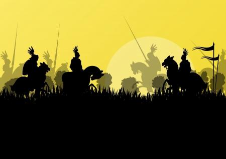 horseman: Cavaliere medievale cavaliere sagome a cavallo in battaglia campale guerra illustrazione vettoriale sfondo