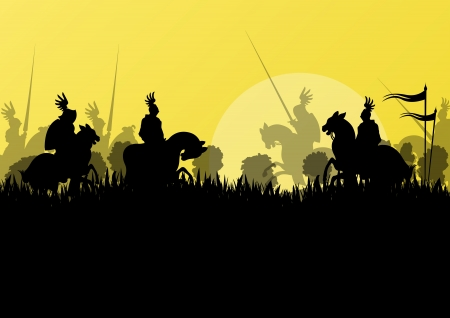 civil war: Medieval knight horseman silhouettes riding in battle field warfare illustration background vector