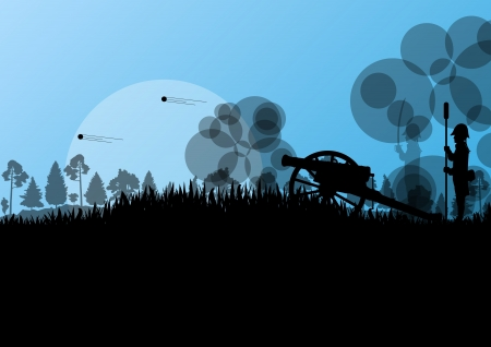 Old civil war battle field warfare soldier troops and artillery cannon guns detailed silhouettes illustration background vector Vector