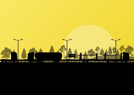 convoy: Autostrada carreggiata paesaggio e autocarri pesanti nel dettagliato foresta natura sfondo illustrazione vettoriale Vettoriali