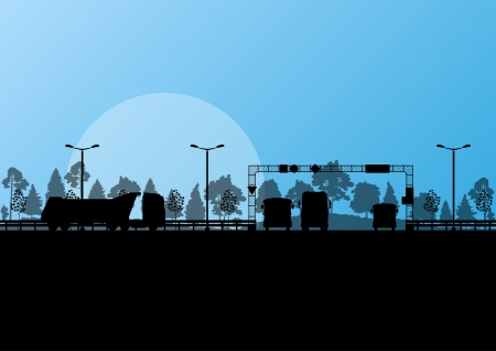 Highway roadway landscape and heavy duty trucks in detailed forest nature background illustration vector Vector