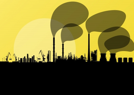 Industrial oil refinery factory landscape illustration background vector Stock Vector - 18581102