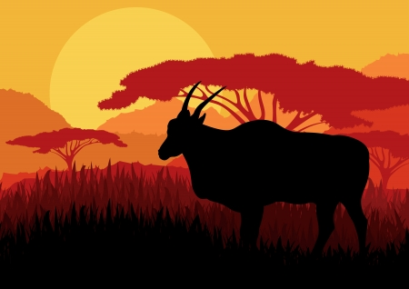 Gazelle in wild Africa mountain landscape background illustration vector Vector
