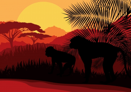 Monkey family in Africa wild nature mountain landscape background illustration vector Vector