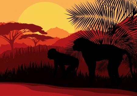 acacia tree: Monkey family in Africa wild nature mountain landscape background illustration vector Illustration