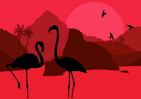 lake sunset: Flamingo couple in Africa wild nature mountain landscape background illustration vector